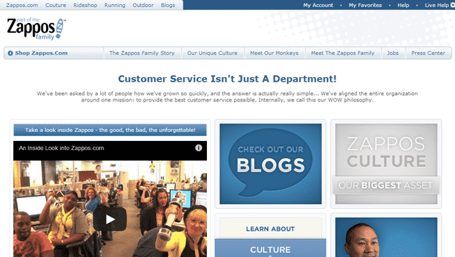 Zappos About Page