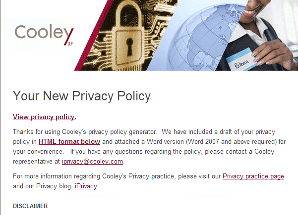 Cooley Privacy Policy Generator