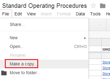 Saving the SOP spreadsheet