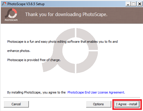 Downloading PhotoScape
