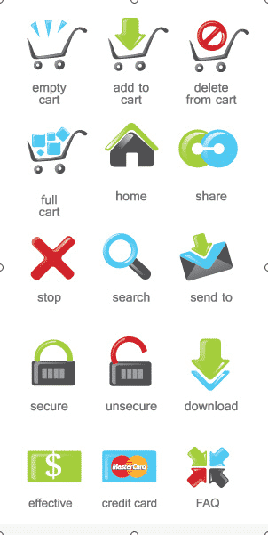 XOO Plate    15 Fresh eCommerce Vector Icons Set