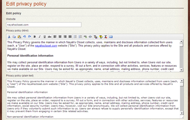 sample website privacy policy