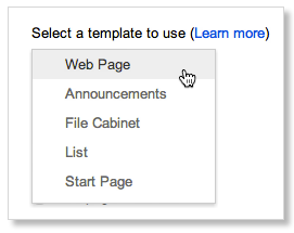 select a page template
