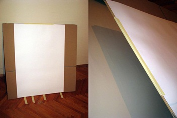 Fix the sheet of craft paper to the cardboard
