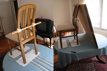 Placing the chair on the table