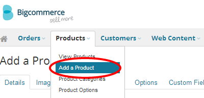 Products tab in BigCommerce
