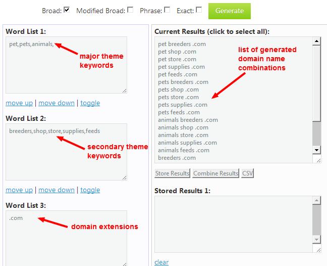 Combine keywords using Keyword List Generator