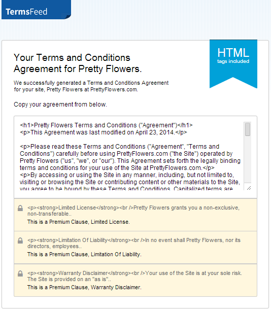 termsfeed terms and conditions