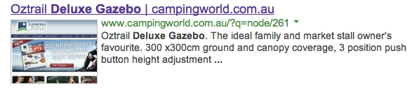 Example of a URL on the title tag