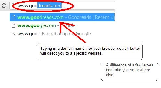 Typing your unique domain name