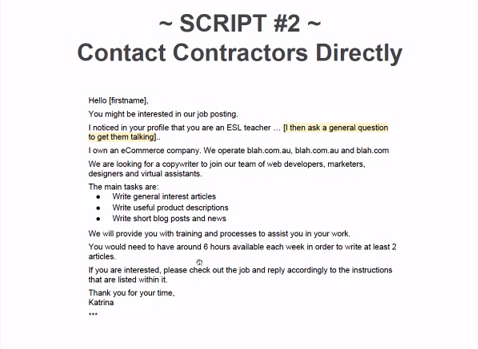 First private communication with a copywriter