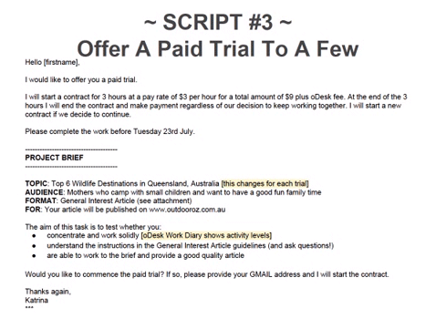 Offering a paid trial