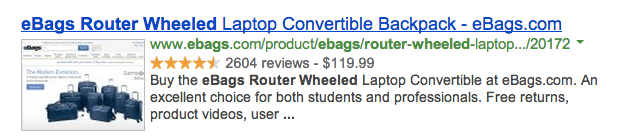 Screenshot of a product page's meta data