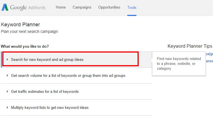 Adwords screenshot search for keywords
