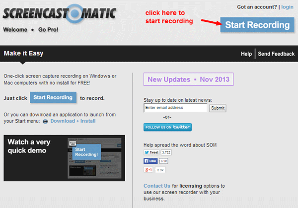 Access Screencast-o-matic.com