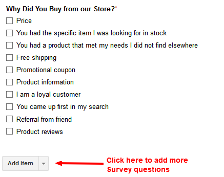 product survey question