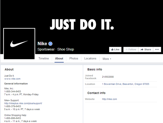 Nike About Page