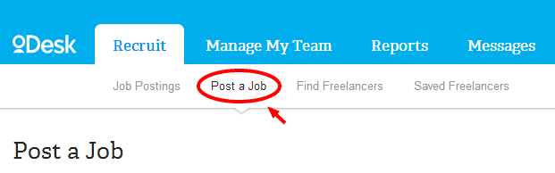 Post a job in oDesk