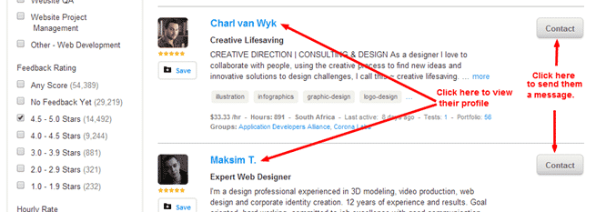 oDesk profile and Contacts