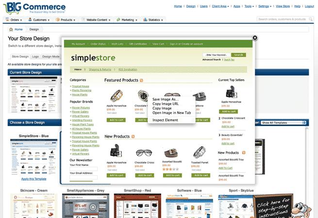 BigCommerce template listing