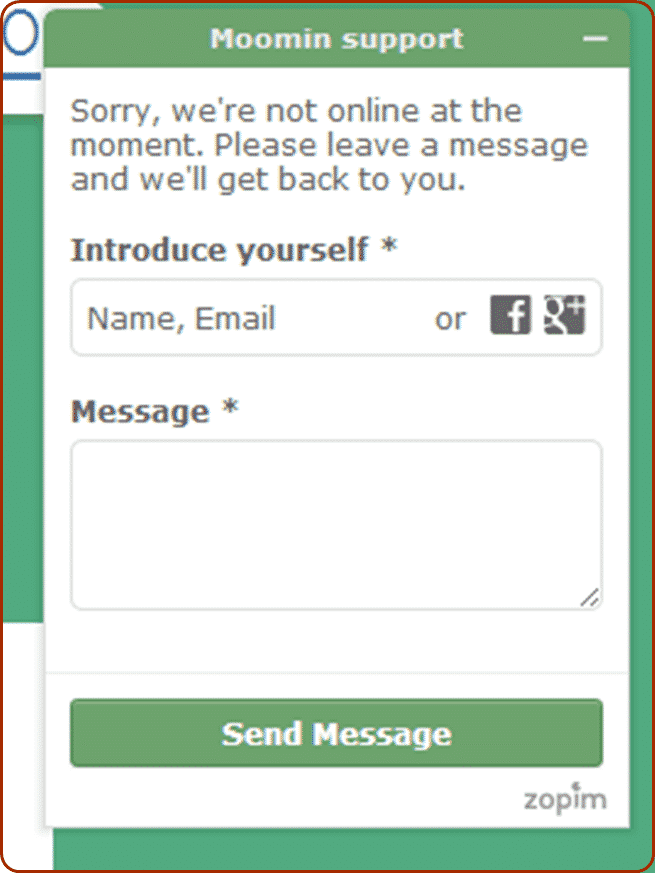 Moomin Shop Contact Page
