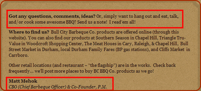 Bull City BBQ Contact Page