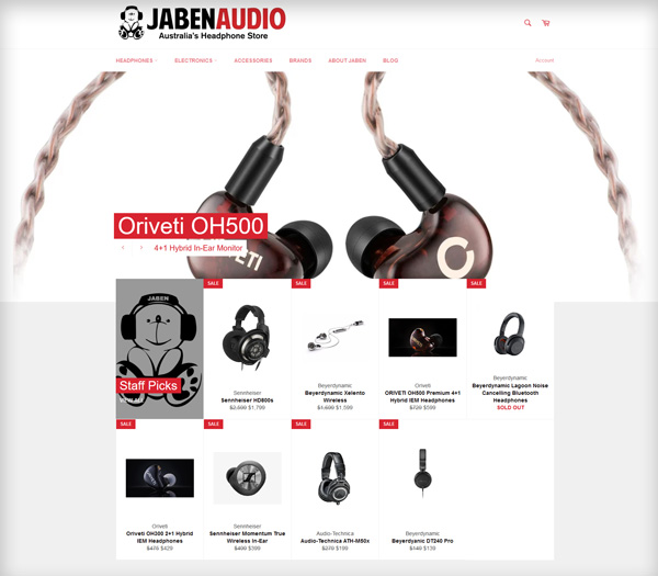 screenshot of jaben website
