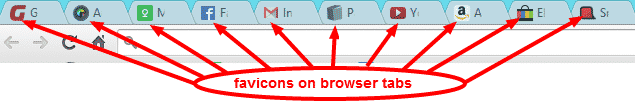 Favicons on the browser tabs