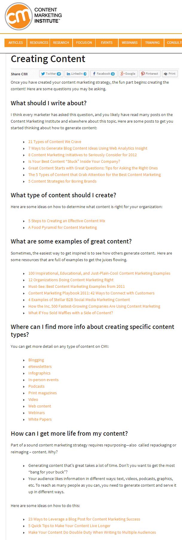 Content Marketing Institute screenshot