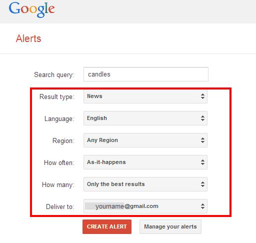Creating an Alert screenshot