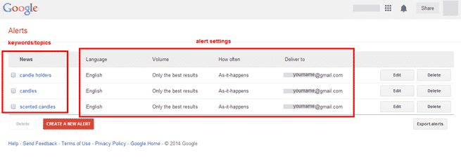 Google Alert settings screenshot