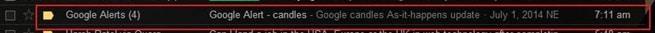 Screenshot of Google Alert in Inbox
