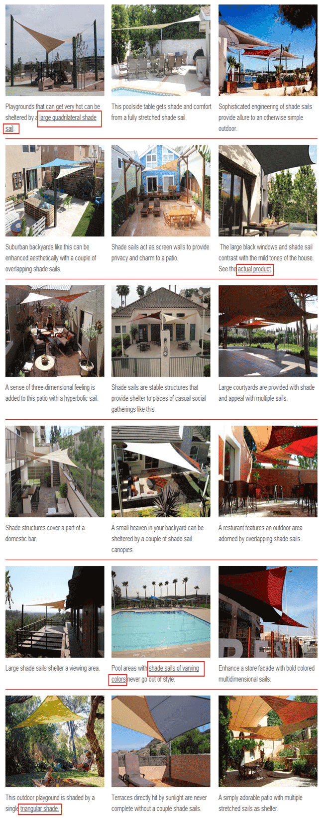 screenshot  of gallery with hyperlinks