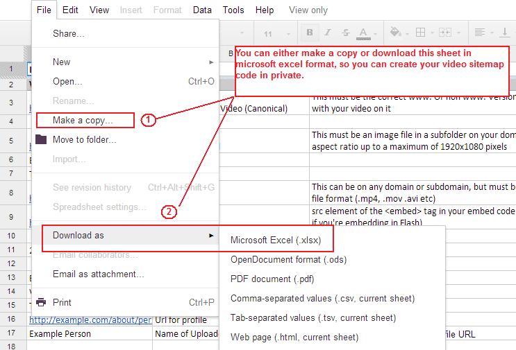 Downloading the spreadsheet