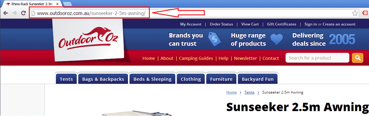 URL example with desirable keywords