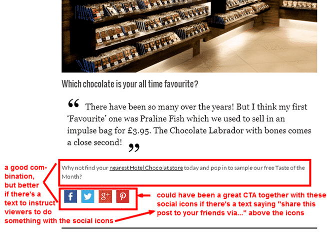 Call To Action From Hotel Chocolat