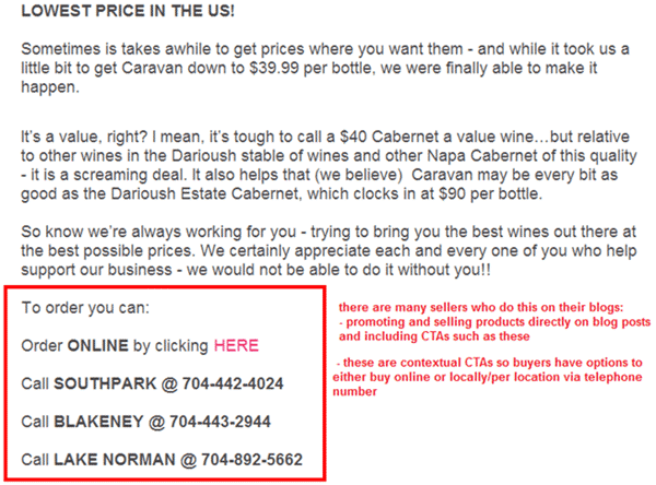 Call To Action from Wine Store Online
