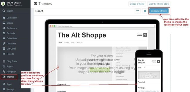 Customise theme in Shopify