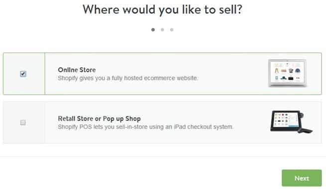 Where would you like to sell option in Shopify