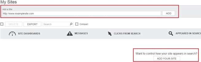 Bing Webmaster Tool - adding your URL