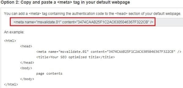 Option 2 Bing Webmaster Tools