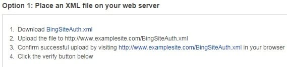 Method 1 - Bing Webmaster Tool