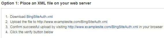 Method 1 - Bing Webmaster Tool