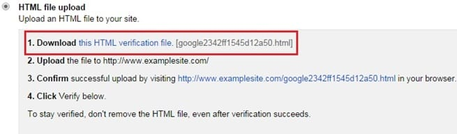 Method 2: HTML file upload in Google Webmaster Tools
