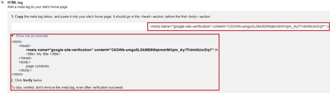 Method 1 - HTML tag in Google Webmaster Tools