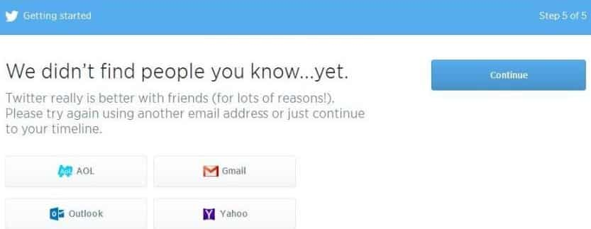 Adding people on Twitter via email provider