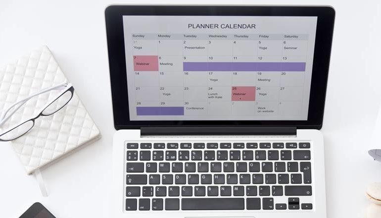 calendar in laptop screen