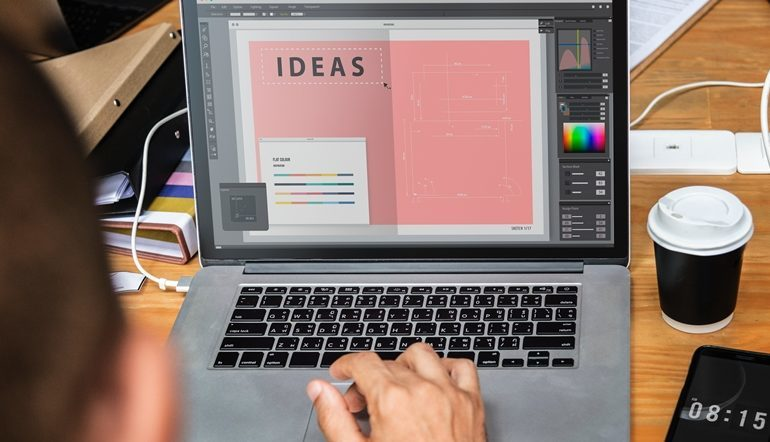 person editing a graphic design