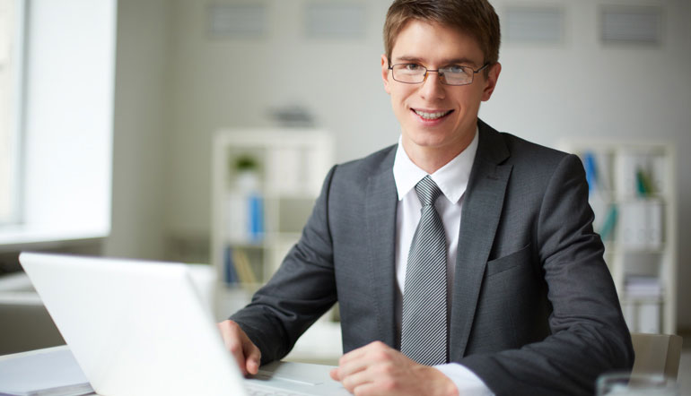 male executive with glasses