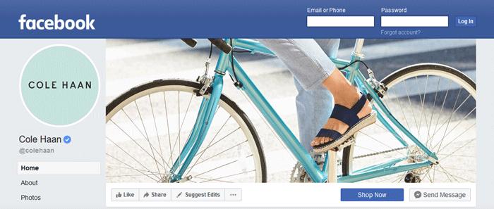 screenshot of Cole Haan facebook fan page